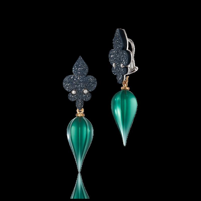 schwarzer kristallisierter achat - grüner quarz - roségold - silber